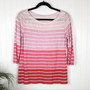 LOFT Pink Striped Ombré Tee Small